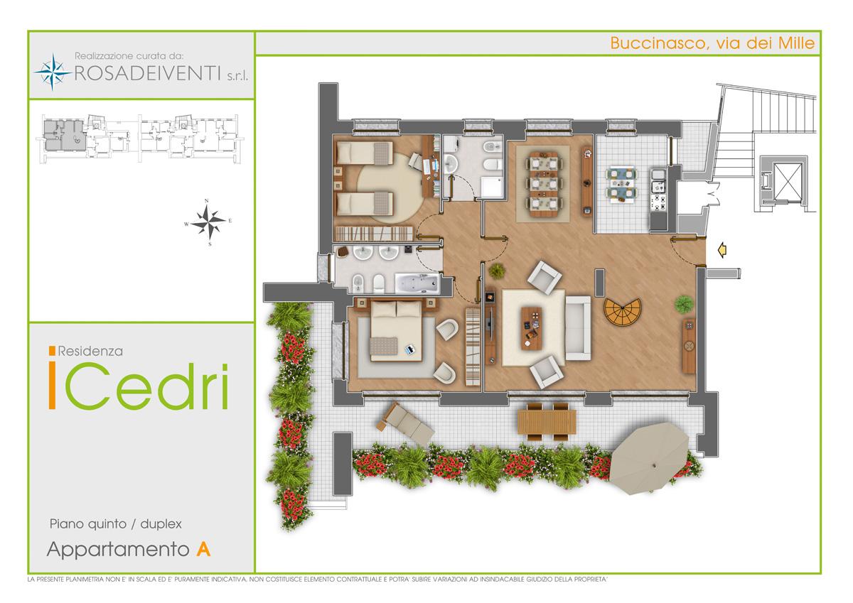 Piantine colorate arredate per la vendita di immobili for Planimetrie con costi da costruire