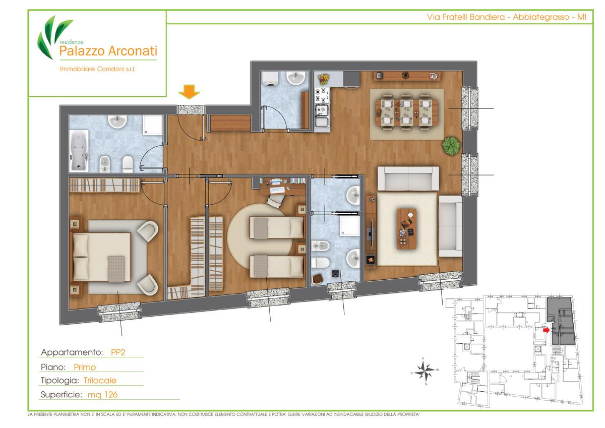Piantine colorate arredate planimetrie per la vendita for Planimetrie di case personalizzate