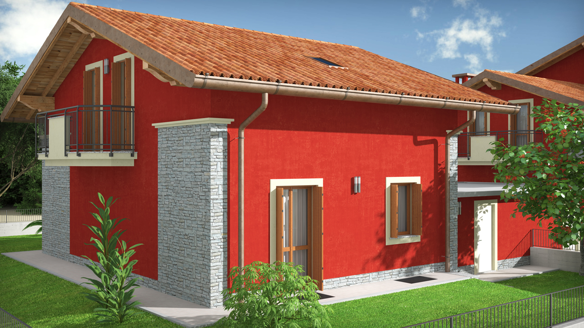 Rendering ville a schiera ferno varese for Case colorate esterni