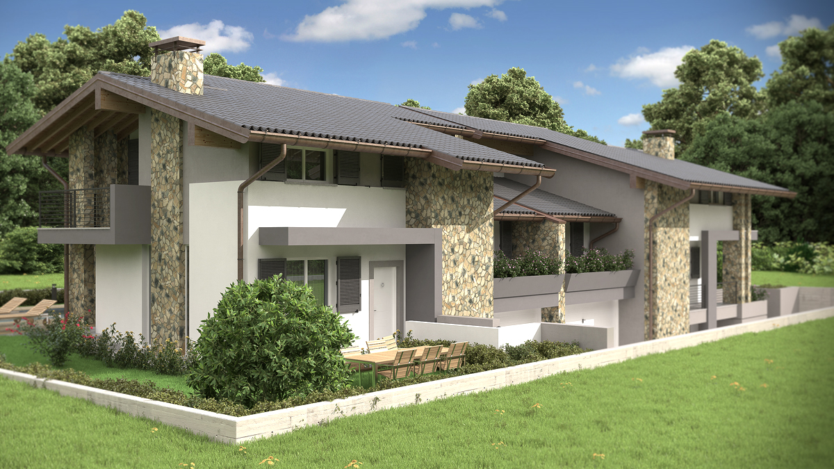 Rendering architettonico fotorealistico villa bifamiliare for Rendering giardino