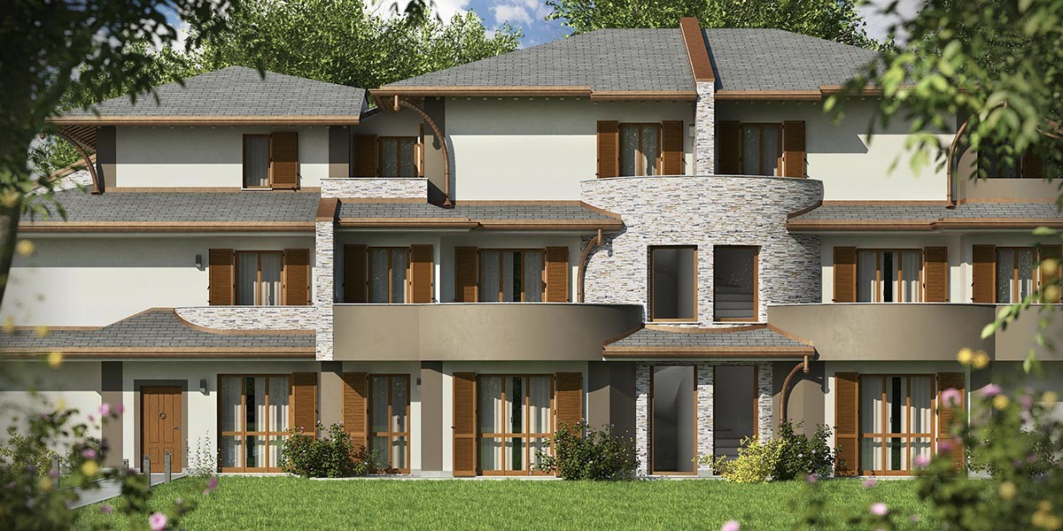 Rendering esterni residenza beltrame for Rendering giardino