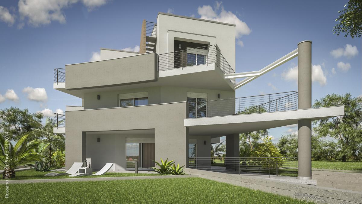 Rendering esterni fotorealistici per architettura for Case bianche moderne