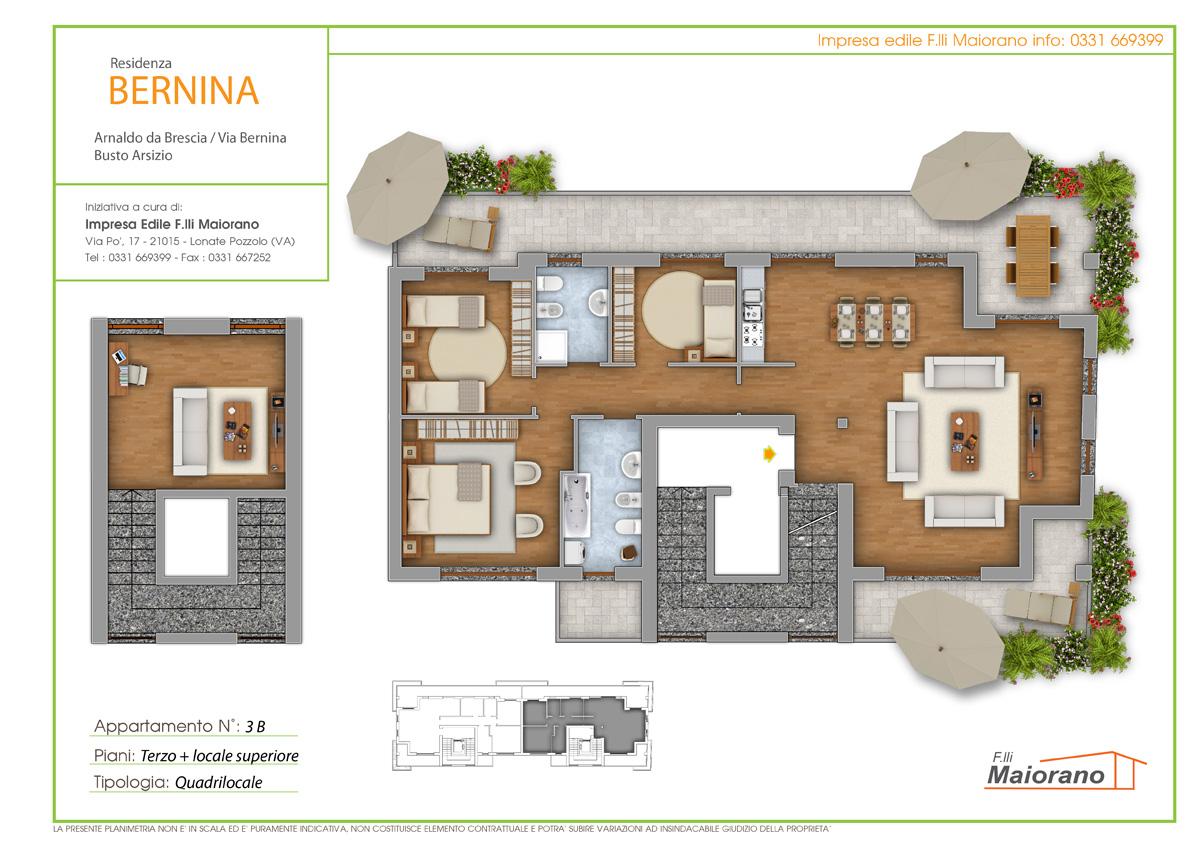 Piantine colorate arredate per la vendita di immobili for Piantine case