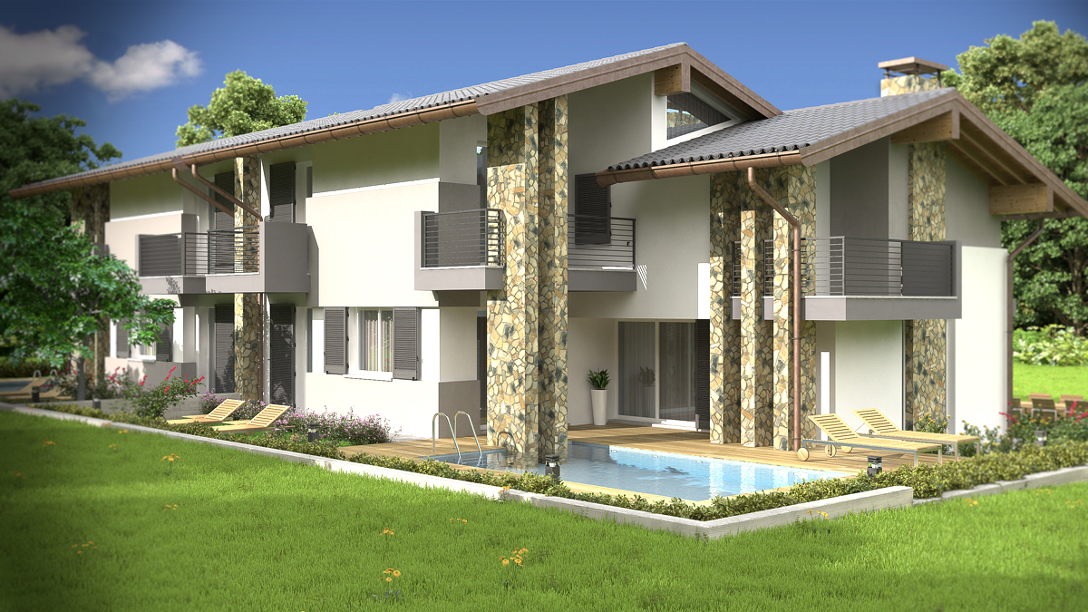 Popolare Rendering Architettonico Fotorealistico Villa Bifamiliare SV43