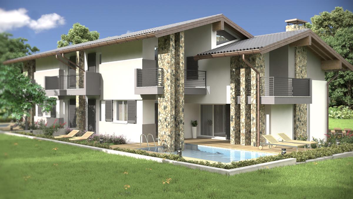 Rendering architettonico fotorealistico villa bifamiliare for Architettura moderna ville