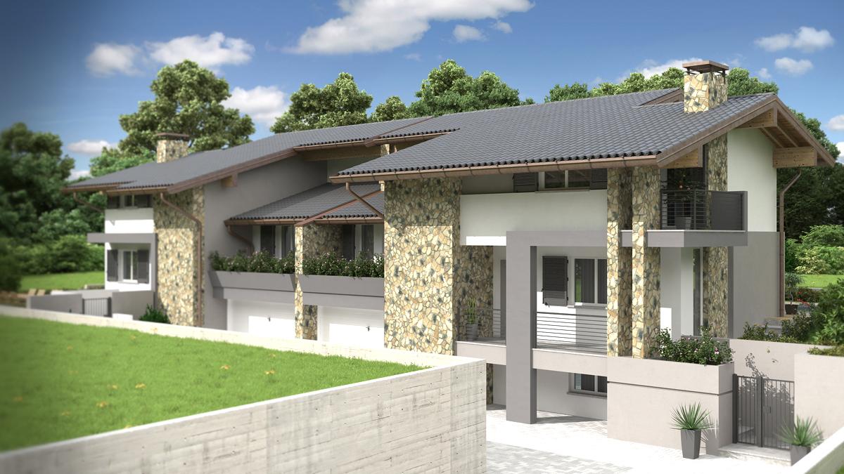 Rendering architettonico fotorealistico villa bifamiliare for Piani di casa tradizionali