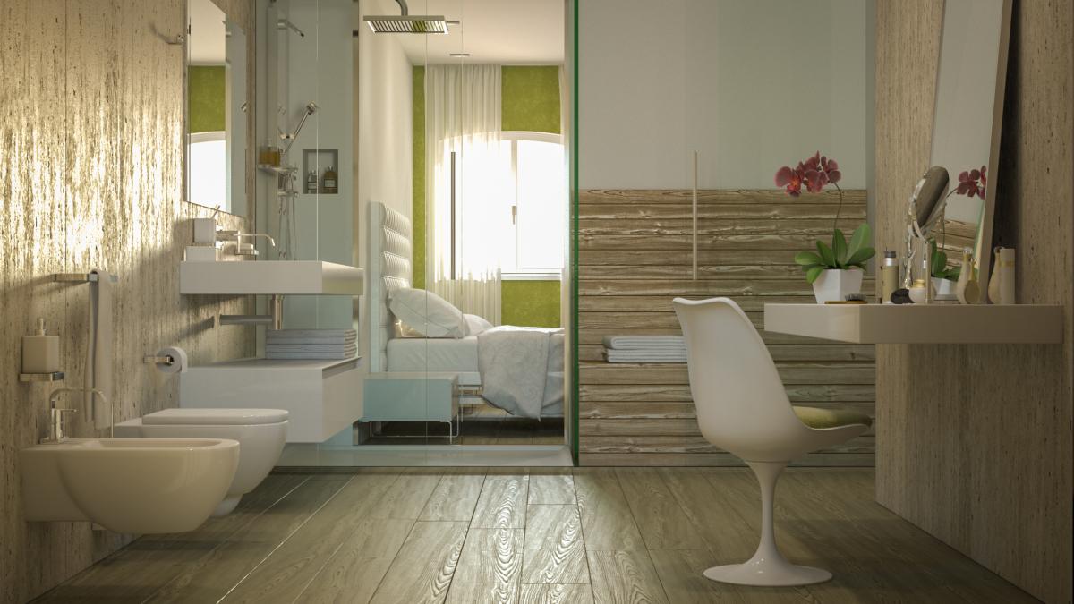 Rendering interni villa di prestigio - Rendering bagno ...