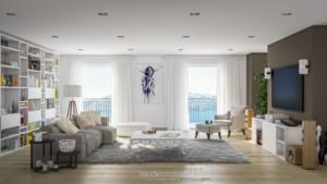 rendering interni, fotorealistici vista del soggiorno