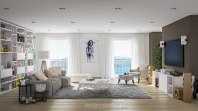 rendering interni, vista del soggiorno