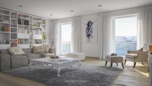 Rendering interni vista laterale soggiorno
