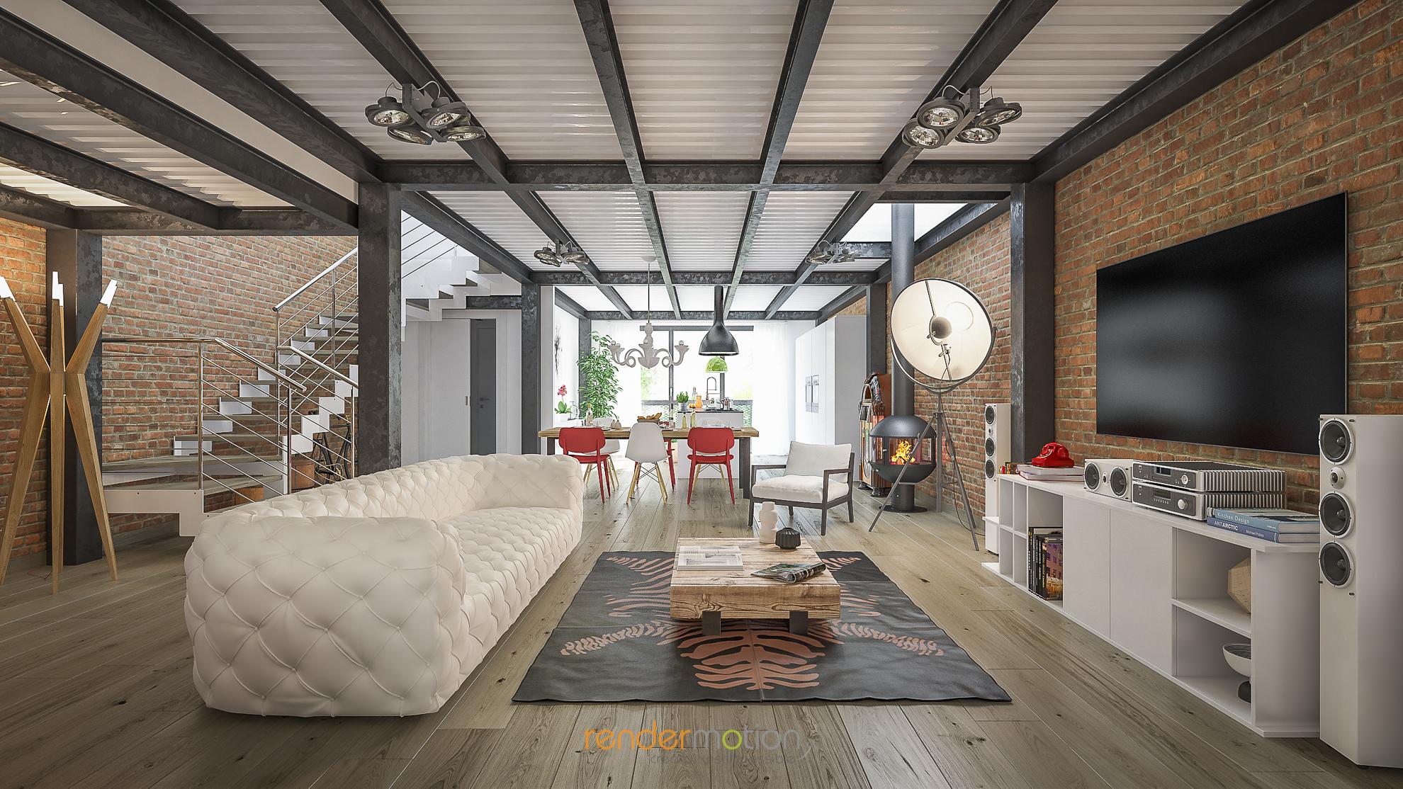 Rendering interni loft stupende immagini per il tuo for Progetti design interni