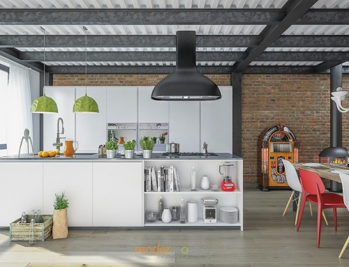 Rendering interni loft