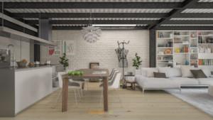 rendering interni loft soggiorno