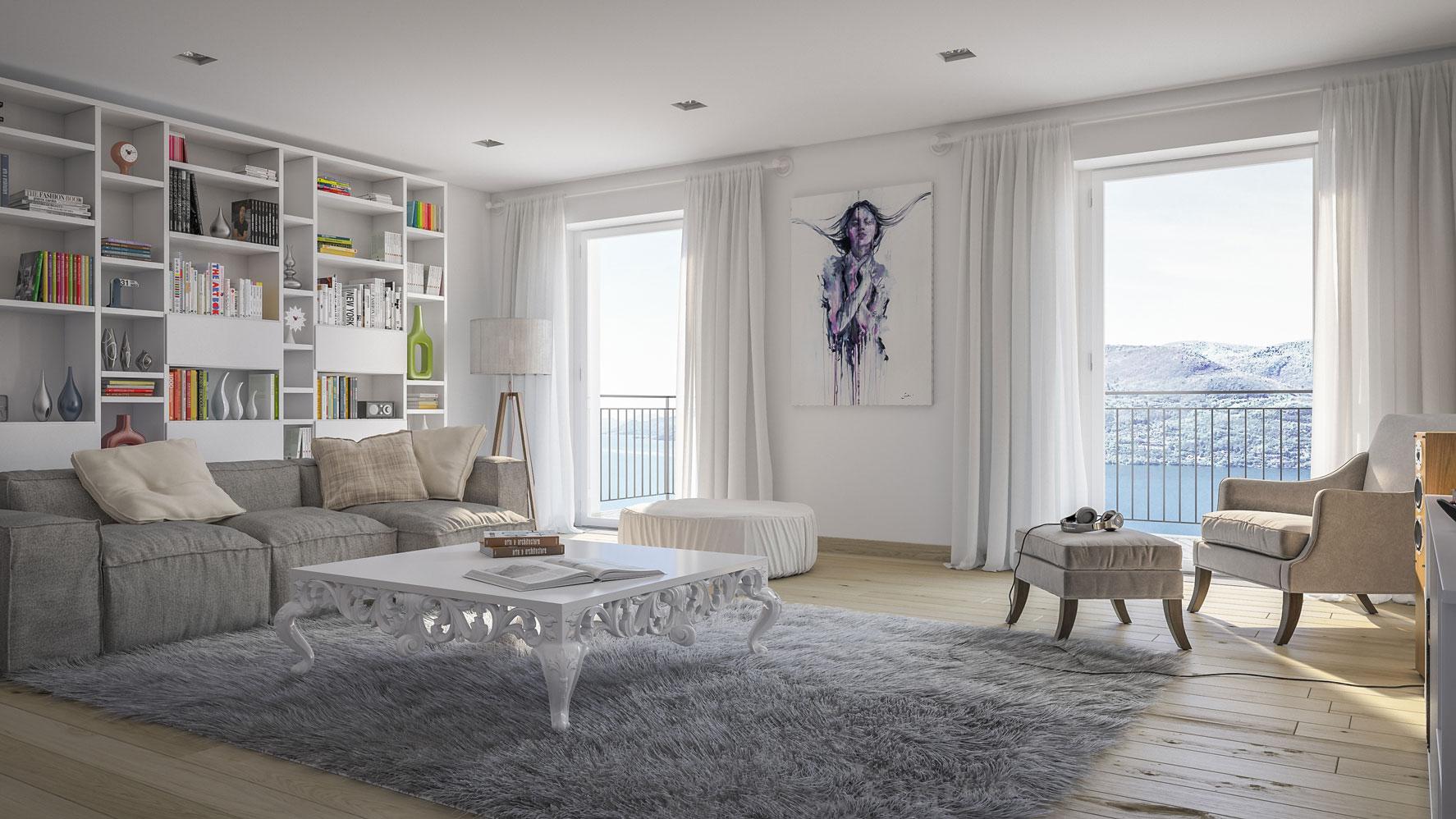 rendering interni soggiorno
